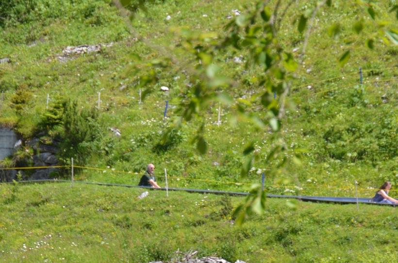 Paul - at the end of his summerhodelbahn run. Oopsie.