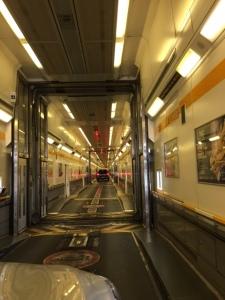 Driving through the train